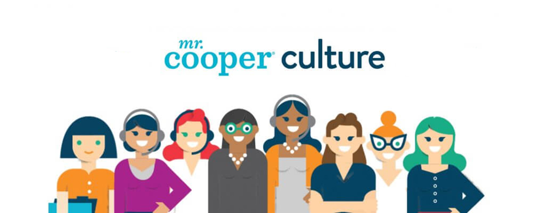 Graphic with diverse group of women mortgage employees and text: Mr. Cooper culture