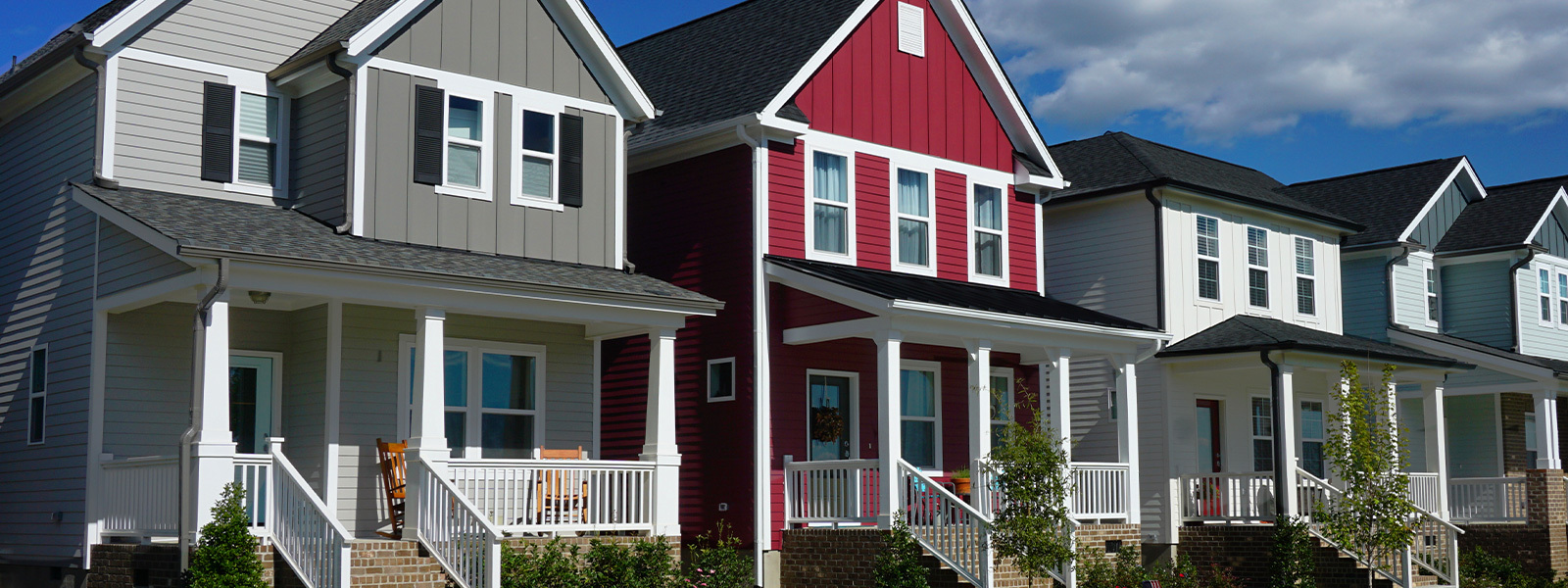 Row of houses with porches