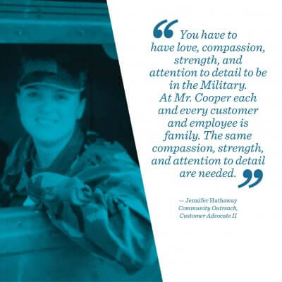 Jennifer Hathaway, a member of Mr. Cooper's military veterans group.